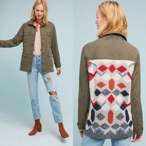 Anthropologie Knit-Back Anorak Jacket Army Green